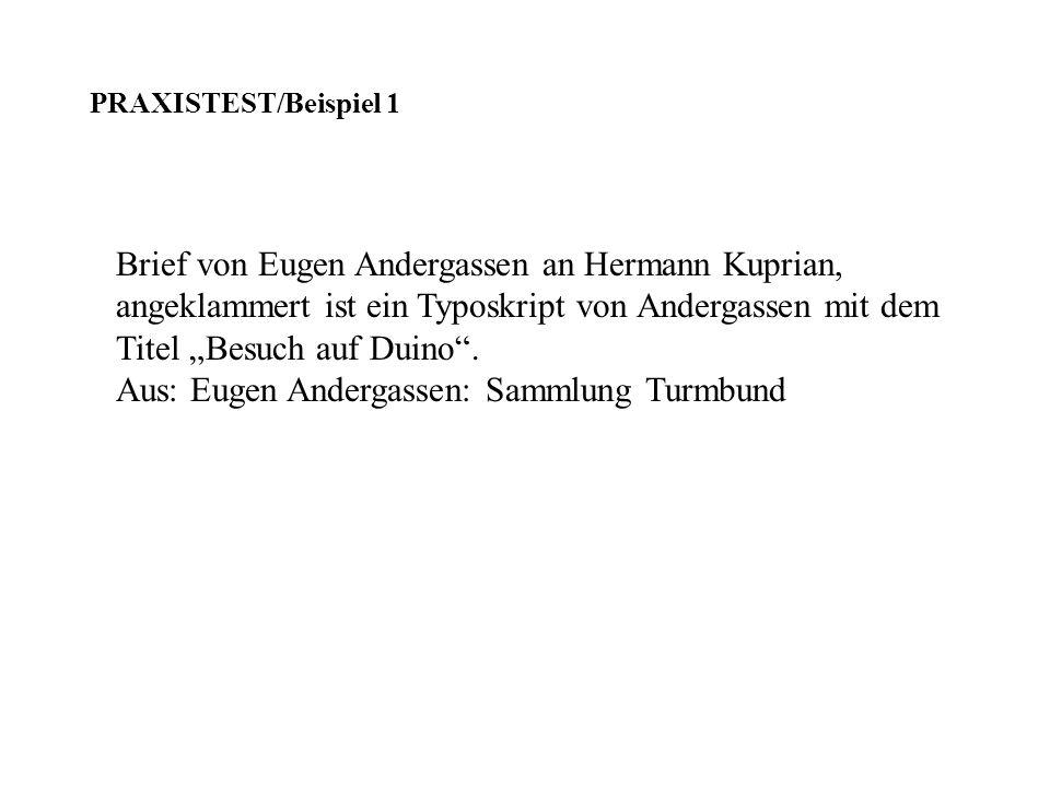 Brief von Eugen Andergassen an Hermann Kuprian, angeklammert ist ein Typoskript von Andergassen mit dem Titel Besuch auf Duino. Aus: Eugen Andergassen