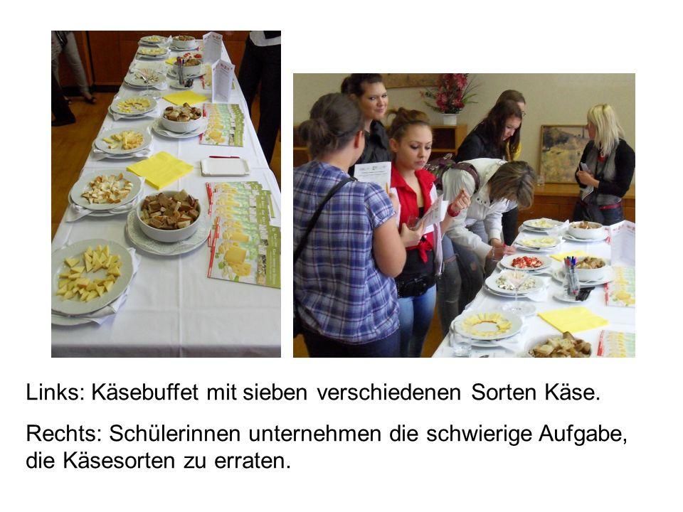 Oben: Das Auge isst mit.Die Schüler/innen sollten erkennen, um welche Speise es sich handelt.