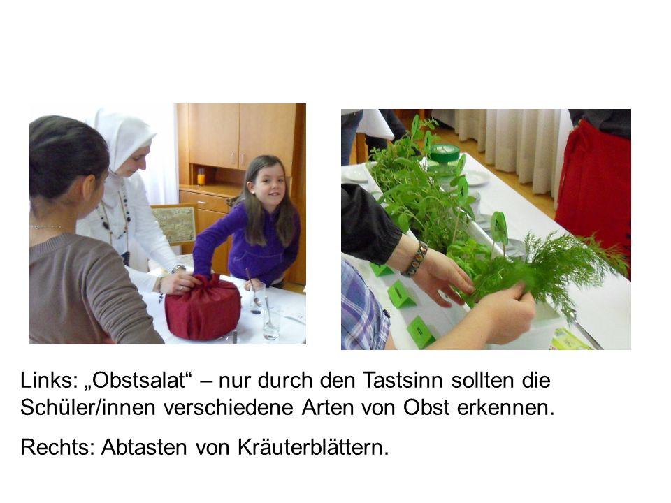 Links: Obstsalat – nur durch den Tastsinn sollten die Schüler/innen verschiedene Arten von Obst erkennen.
