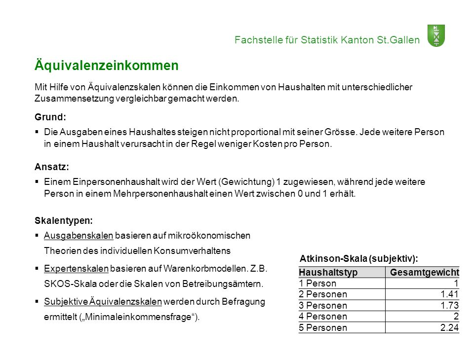 Fachstelle für Statistik Kanton St.Gallen Äquivalenzeinkommen Mit Hilfe von Äquivalenzskalen können die Einkommen von Haushalten mit unterschiedlicher