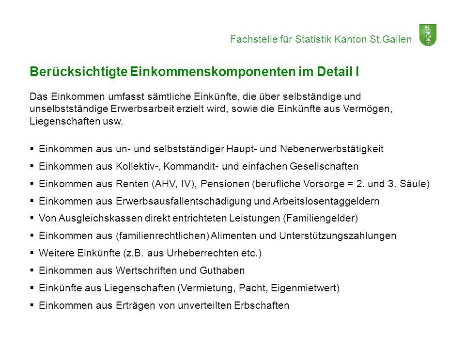 Fachstelle für Statistik Kanton St.Gallen Berücksichtigte Einkommenskomponenten im Detail I Das Einkommen umfasst sämtliche Einkünfte, die über selbst