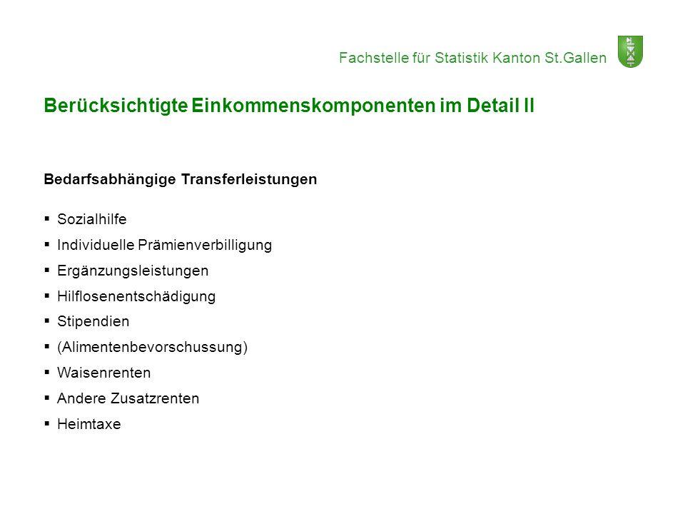 Fachstelle für Statistik Kanton St.Gallen Berücksichtigte Einkommenskomponenten im Detail II Bedarfsabhängige Transferleistungen Sozialhilfe Individue