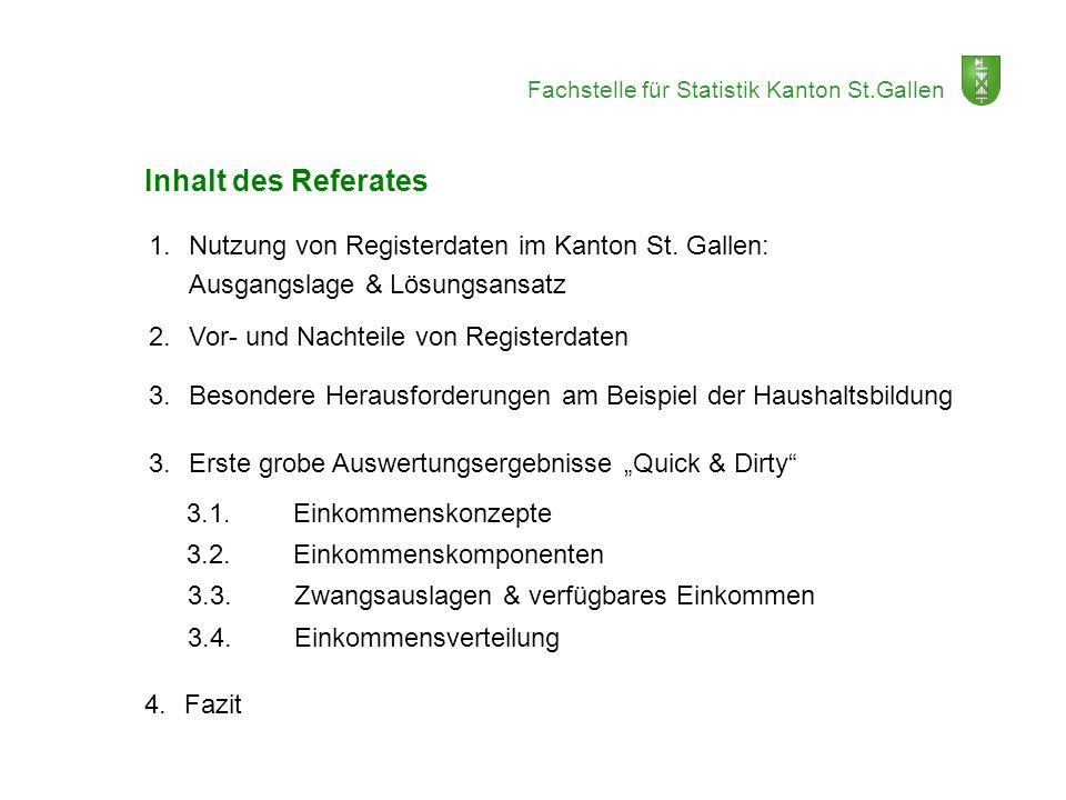 Fachstelle für Statistik Kanton St.Gallen 1.Nutzung von Registerdaten im Kanton St. Gallen: Ausgangslage & Lösungsansatz 2.Vor- und Nachteile von Regi