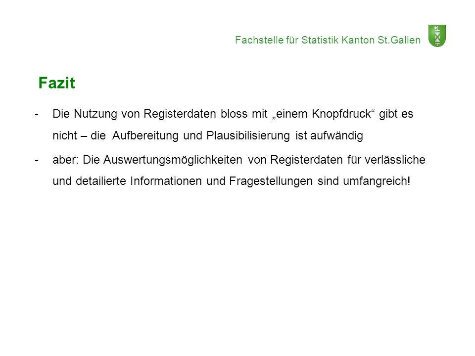 Fachstelle für Statistik Kanton St.Gallen Fazit -Die Nutzung von Registerdaten bloss mit einem Knopfdruck gibt es nicht – die Aufbereitung und Plausib
