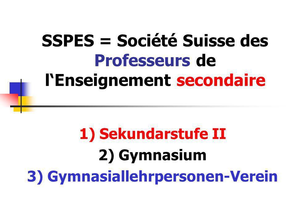 SSPES = Société Suisse des Professeurs de lEnseignement secondaire 1) Sekundarstufe II 2) Gymnasium 3) Gymnasiallehrpersonen-Verein