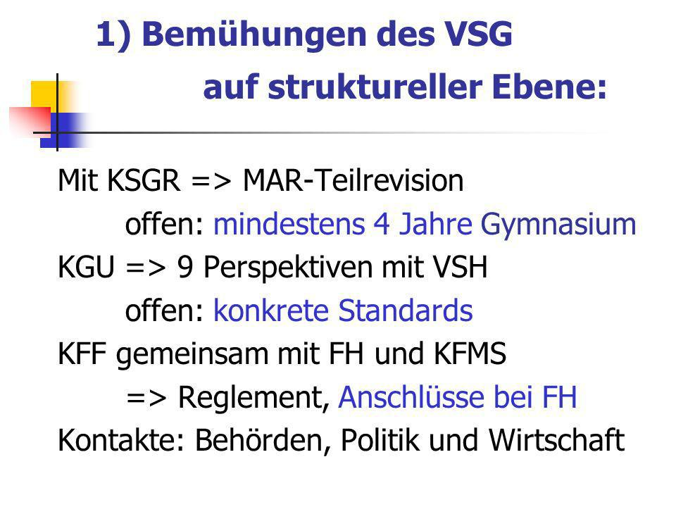 1) Bemühungen des VSG auf struktureller Ebene: Mit KSGR => MAR-Teilrevision offen: mindestens 4 Jahre Gymnasium KGU => 9 Perspektiven mit VSH offen: konkrete Standards KFF gemeinsam mit FH und KFMS => Reglement, Anschlüsse bei FH Kontakte: Behörden, Politik und Wirtschaft