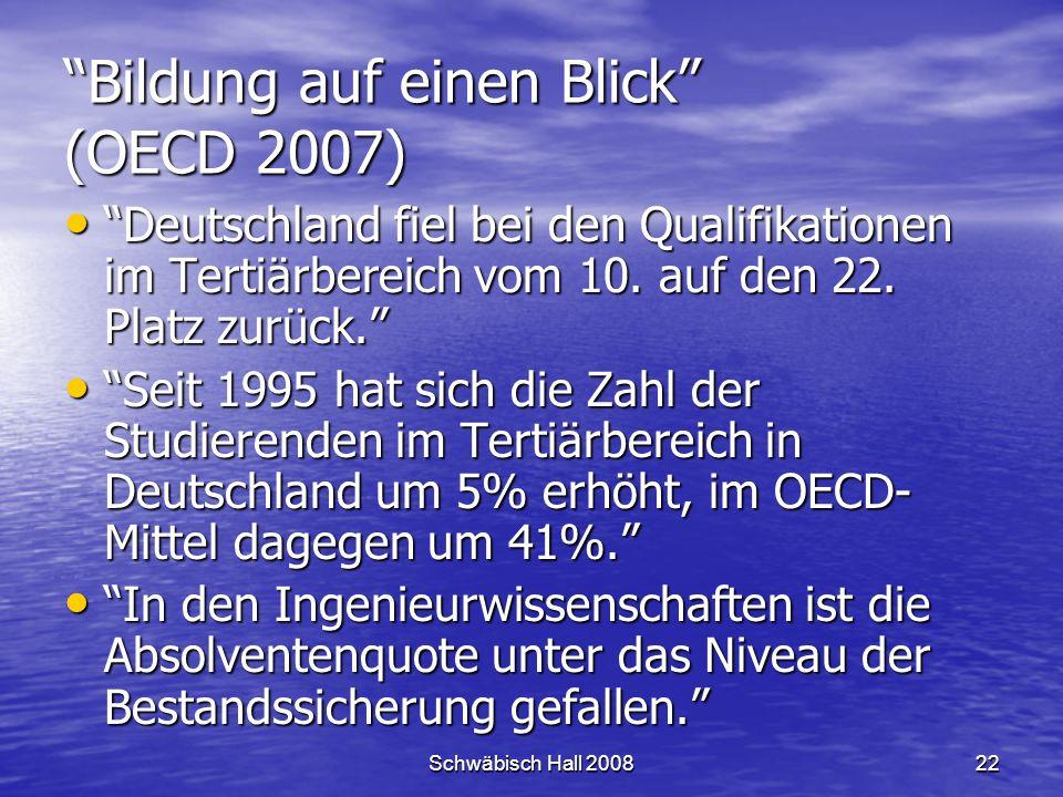Schwäbisch Hall 200822 Bildung auf einen Blick (OECD 2007) Deutschland fiel bei den Qualifikationen im Tertiärbereich vom 10.