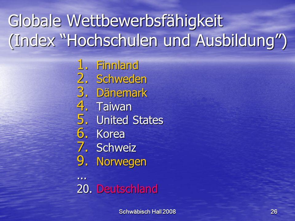Schwäbisch Hall 200826 Globale Wettbewerbsfähigkeit (Index Hochschulen und Ausbildung) 1.