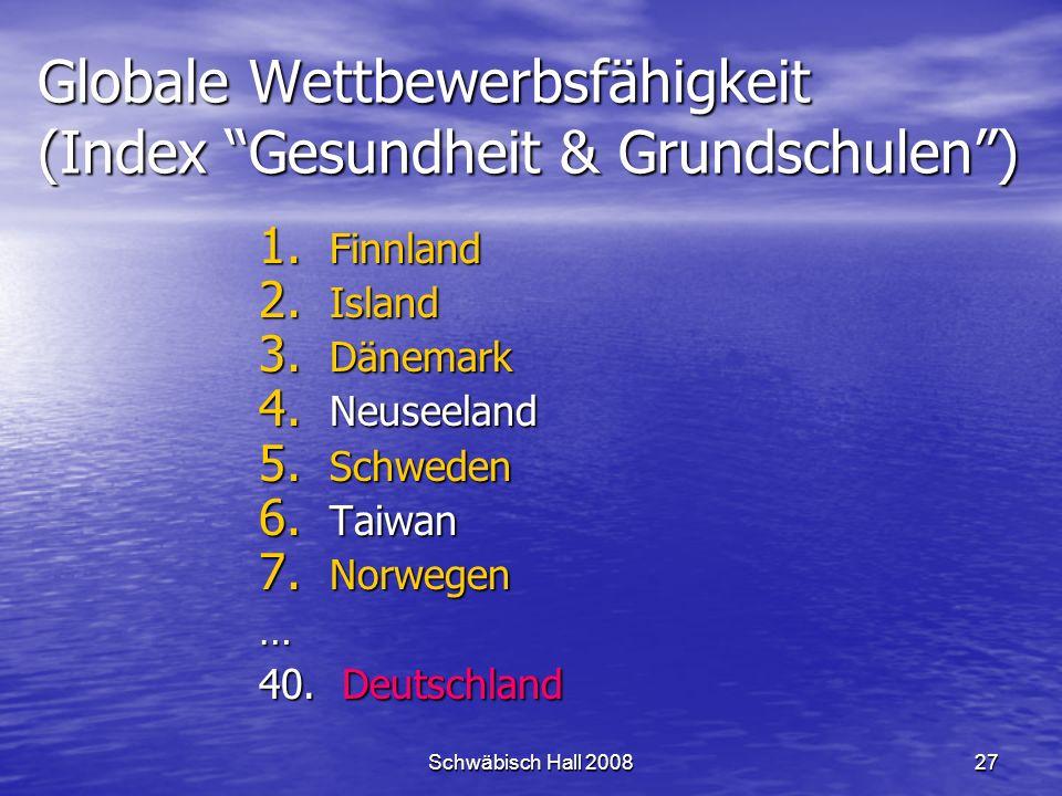 Schwäbisch Hall 200827 Globale Wettbewerbsfähigkeit (Index Gesundheit & Grundschulen) 1.