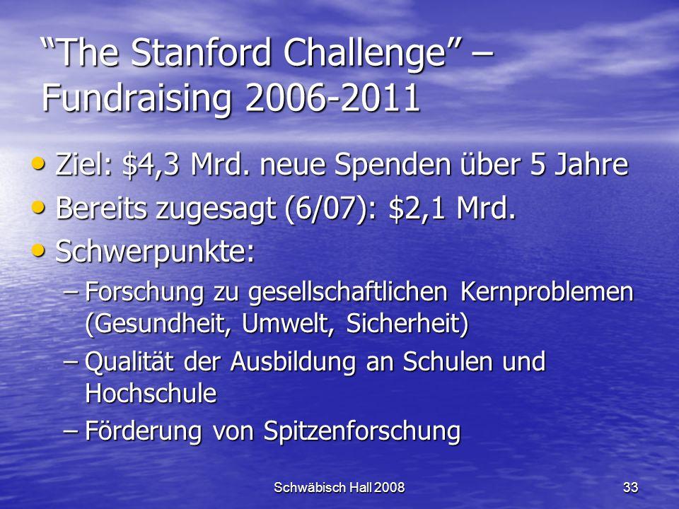 Schwäbisch Hall 200833 The Stanford Challenge – Fundraising 2006-2011 Ziel: $4,3 Mrd.