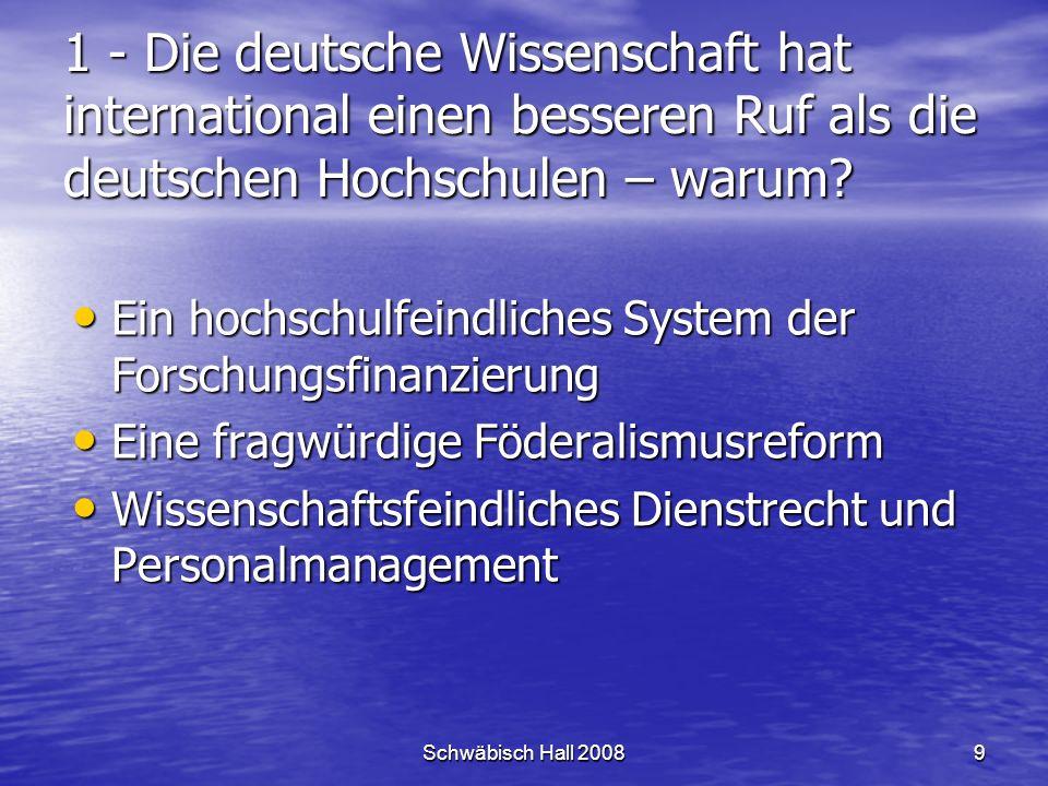 Schwäbisch Hall 20089 1 - Die deutsche Wissenschaft hat international einen besseren Ruf als die deutschen Hochschulen – warum.