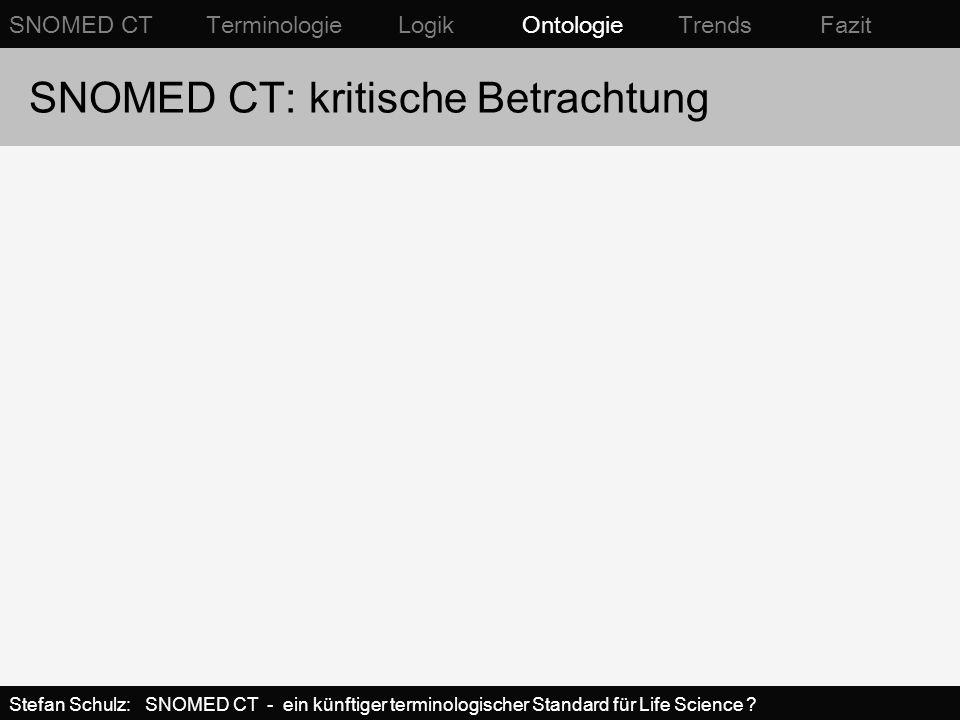 SNOMED CT: kritische Betrachtung SNOMED CT Terminologie Logik Ontologie Trends Fazit Stefan Schulz: SNOMED CT - ein künftiger terminologischer Standar