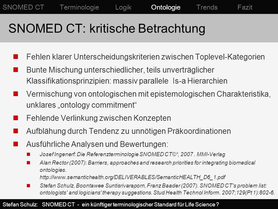 SNOMED CT: kritische Betrachtung Fehlen klarer Unterscheidungskriterien zwischen Toplevel-Kategorien Bunte Mischung unterschiedlicher, teils unverträg