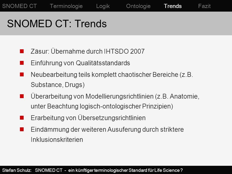 SNOMED CT: Trends Zäsur: Übernahme durch IHTSDO 2007 Einführung von Qualitätsstandards Neubearbeitung teils komplett chaotischer Bereiche (z.B. Substa