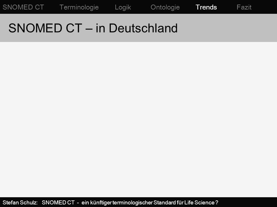 SNOMED CT – in Deutschland SNOMED CT Terminologie Logik Ontologie Trends Fazit Stefan Schulz: SNOMED CT - ein künftiger terminologischer Standard für