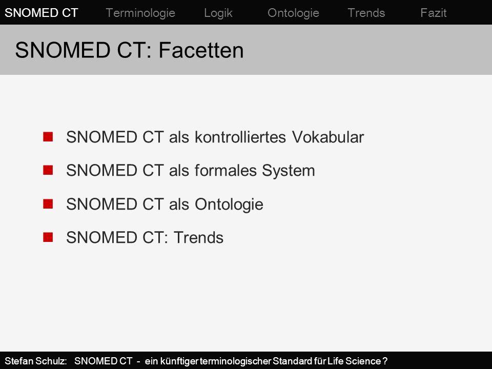SNOMED CT als Ontologie Ordnung der Domäne nach ihren generischen, invarianten Eigenschaften Toplevel-Ontologie: idealerweise nichtüberlappende Kategorien mit strikt definierten Kriterien (z.B.