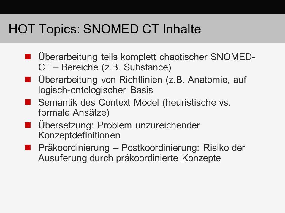 HOT Topics: SNOMED CT Inhalte Überarbeitung teils komplett chaotischer SNOMED- CT – Bereiche (z.B. Substance) Überarbeitung von Richtlinien (z.B. Anat