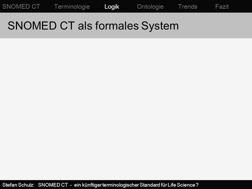 SNOMED CT als formales System SNOMED CT Terminologie Logik Ontologie Trends Fazit Stefan Schulz: SNOMED CT - ein künftiger terminologischer Standard f