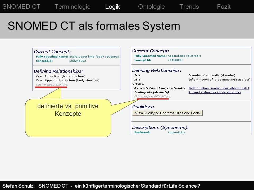 Defizit von nicht-formalen Ansätzen (frühere SNOMED-Versionen) D5-46210Acute appendicitis, NOS D5-46100Appendicitis, NOS G-A231Acute M-41000Acute inflammation, NOS G-C006In T-59200Appendix, NOS G-A231Acute M-40000Inflammation G-C006In T-59200Appendix, NOS SNOMED INTERNATIONAL Unterschiedliche Beschreibungen desselben Sachverhalts sind nicht aufeinander abbildbar Aneinanderreihung von Konzepten und Relationen nicht eindeutig interpretierbar SNOMED CT Terminologie Logik Ontologie Trends Fazit