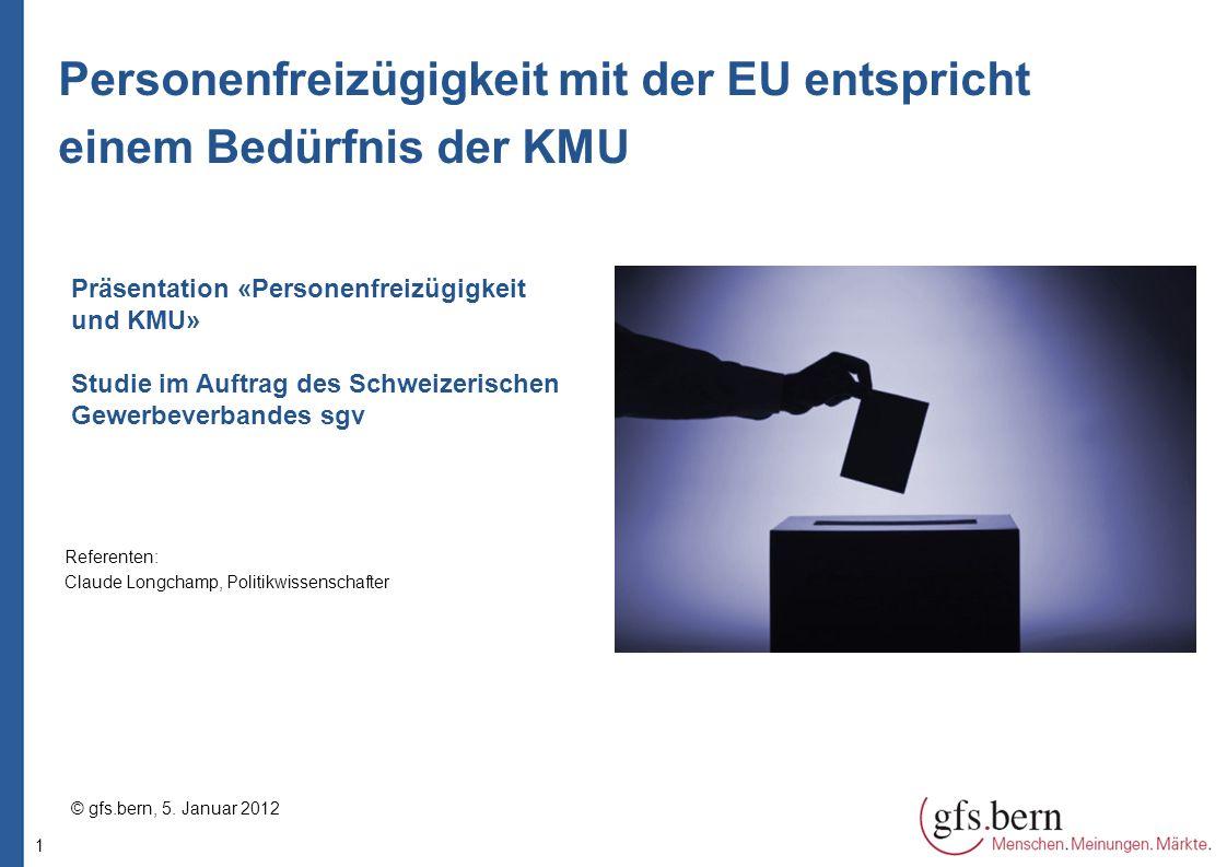 1 Personenfreizügigkeit mit der EU entspricht einem Bedürfnis der KMU Präsentation «Personenfreizügigkeit und KMU» Studie im Auftrag des Schweizerischen Gewerbeverbandes sgv © gfs.bern, 5.