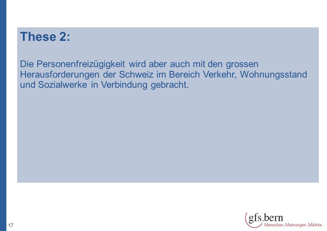 17 These 2: Die Personenfreizügigkeit wird aber auch mit den grossen Herausforderungen der Schweiz im Bereich Verkehr, Wohnungsstand und Sozialwerke in Verbindung gebracht.
