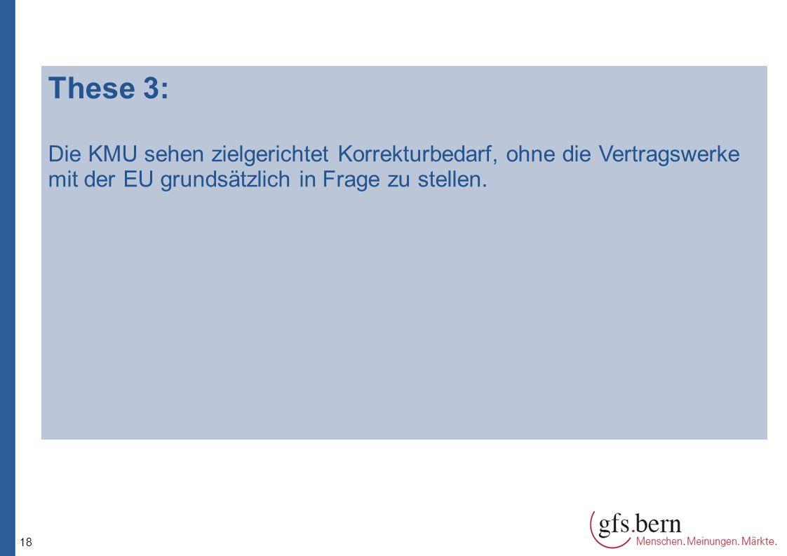 18 These 3: Die KMU sehen zielgerichtet Korrekturbedarf, ohne die Vertragswerke mit der EU grundsätzlich in Frage zu stellen.