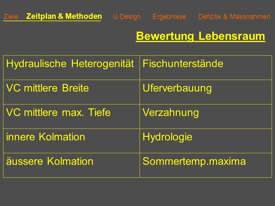 Ziele Zeitplan & Methoden U.Design Ergebnisse Defizite & Massnahmen Necker Letzi Bachforelle Äsche Alet Groppe Barbe Schmerle Strömer Elritze 1 Biomasse