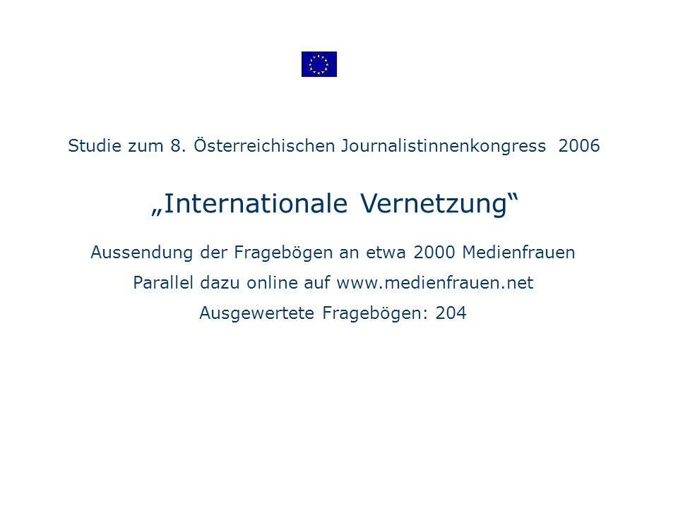 Internationale Vernetzung Aussendung der Fragebögen an etwa 2000 Medienfrauen Parallel dazu online auf www.medienfrauen.net Ausgewertete Fragebögen: 204 Studie zum 8.