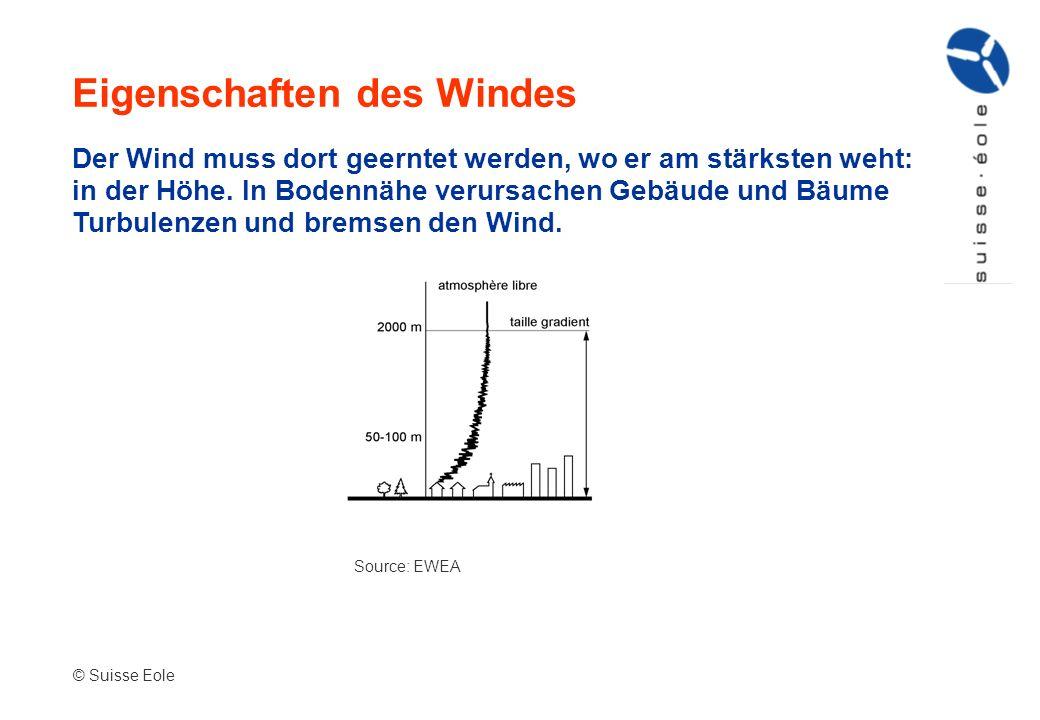 Eigenschaften des Windes Source: EWEA © Suisse Eole Der Wind muss dort geerntet werden, wo er am stärksten weht: in der Höhe. In Bodennähe verursachen