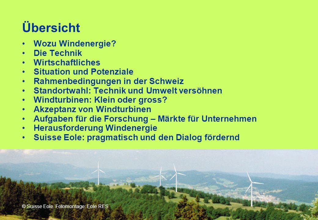 Übersicht Wozu Windenergie? Die Technik Wirtschaftliches Situation und Potenziale Rahmenbedingungen in der Schweiz Standortwahl: Technik und Umwelt ve