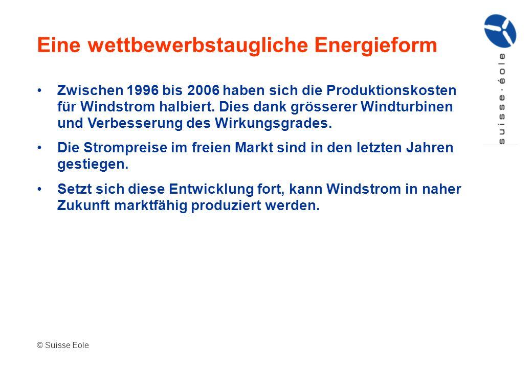 Zwischen 1996 bis 2006 haben sich die Produktionskosten für Windstrom halbiert. Dies dank grösserer Windturbinen und Verbesserung des Wirkungsgrades.