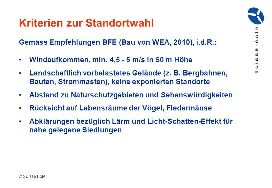 Gemäss Empfehlungen BFE (Bau von WEA, 2010), i.d.R.: Windaufkommen, min. 4,5 - 5 m/s in 50 m Höhe Landschaftlich vorbelastetes Gelände (z. B. Bergbahn