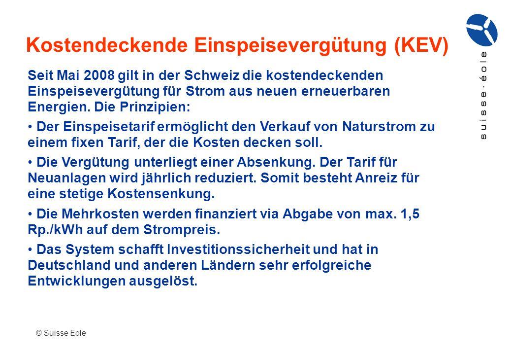 Kostendeckende Einspeisevergütung (KEV) © Suisse Eole Seit Mai 2008 gilt in der Schweiz die kostendeckenden Einspeisevergütung für Strom aus neuen ern