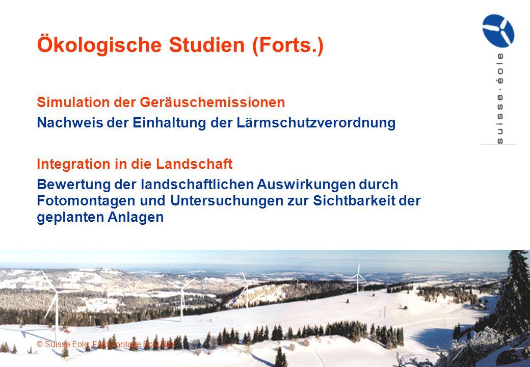 Ökologische Studien (Forts.) © Suisse Eole; Fotomontage Eole Res Simulation der Geräuschemissionen Nachweis der Einhaltung der Lärmschutzverordnung In
