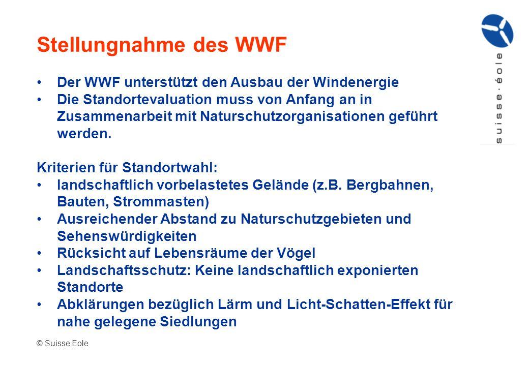 Der WWF unterstützt den Ausbau der Windenergie Die Standortevaluation muss von Anfang an in Zusammenarbeit mit Naturschutzorganisationen geführt werde
