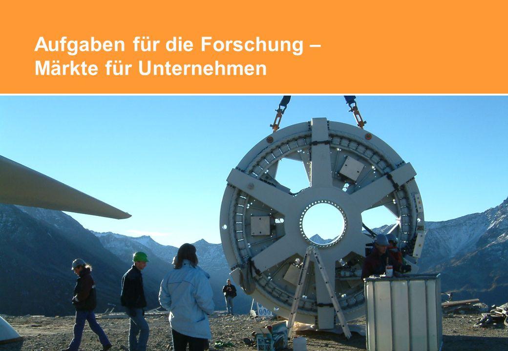 Aufgaben für die Forschung – Märkte für Unternehmen © Suisse Eole