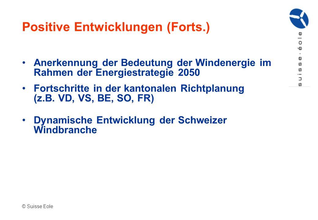 Anerkennung der Bedeutung der Windenergie im Rahmen der Energiestrategie 2050 Fortschritte in der kantonalen Richtplanung (z.B. VD, VS, BE, SO, FR) Dy