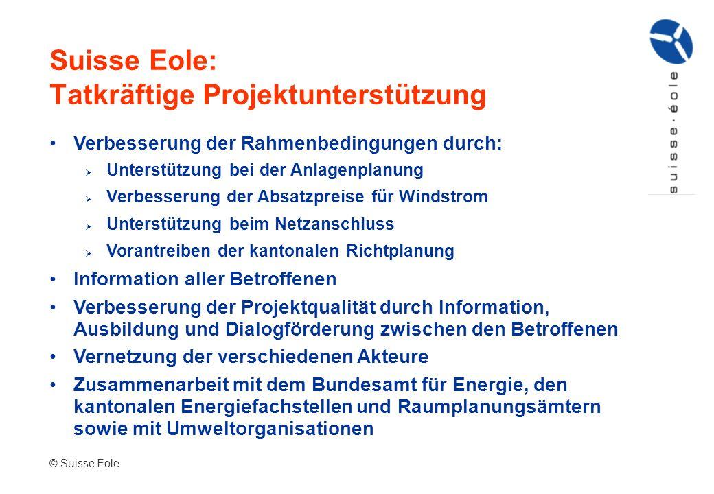Suisse Eole: Tatkräftige Projektunterstützung Verbesserung der Rahmenbedingungen durch: Unterstützung bei der Anlagenplanung Verbesserung der Absatzpr
