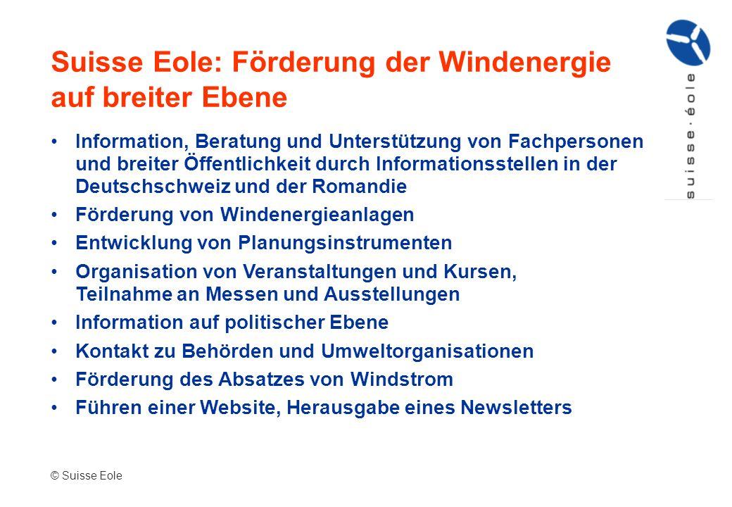 Suisse Eole: Förderung der Windenergie auf breiter Ebene Information, Beratung und Unterstützung von Fachpersonen und breiter Öffentlichkeit durch Inf
