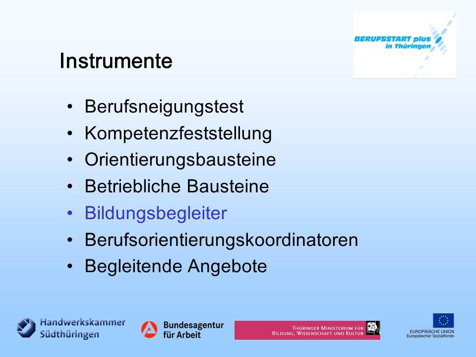 Instrumente Berufsneigungstest Kompetenzfeststellung Orientierungsbausteine Betriebliche Bausteine Bildungsbegleiter Berufsorientierungskoordinatoren