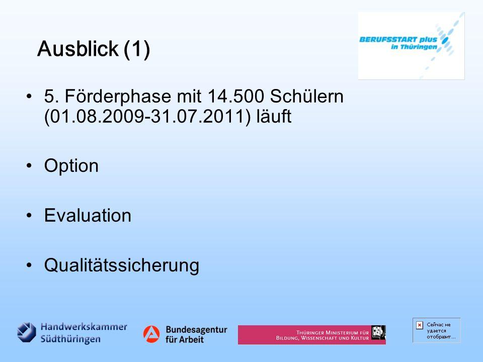 Ausblick (1) 5. Förderphase mit 14.500 Schülern (01.08.2009-31.07.2011) läuft Option Evaluation Qualitätssicherung