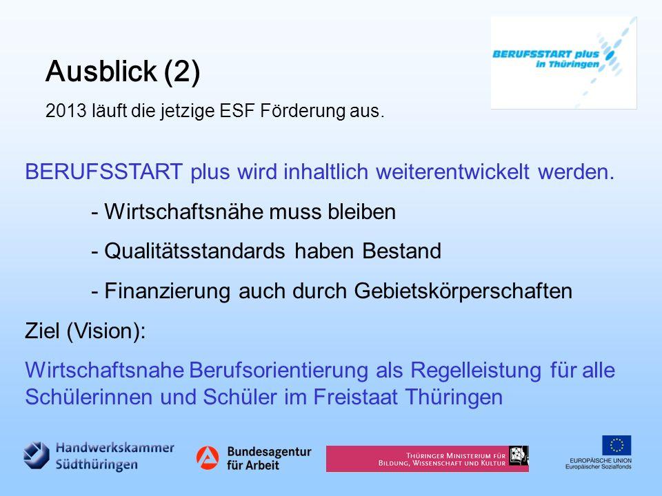 Ausblick (2) 2013 läuft die jetzige ESF Förderung aus. BERUFSSTART plus wird inhaltlich weiterentwickelt werden. - Wirtschaftsnähe muss bleiben - Qual