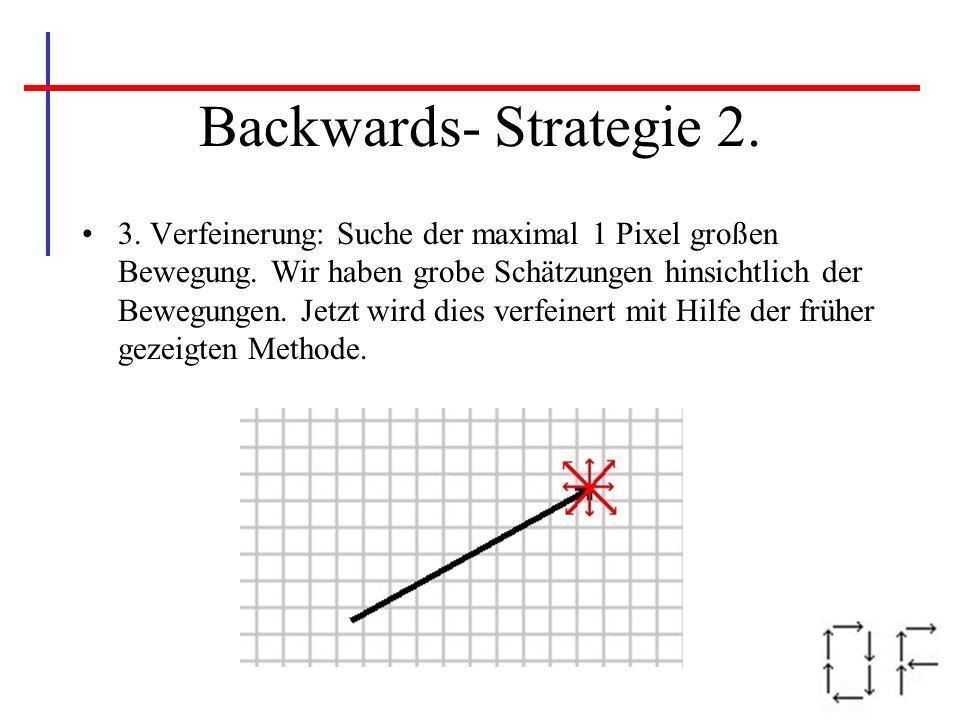 Backwards- Strategie 2. 3. Verfeinerung: Suche der maximal 1 Pixel großen Bewegung. Wir haben grobe Schätzungen hinsichtlich der Bewegungen. Jetzt wir