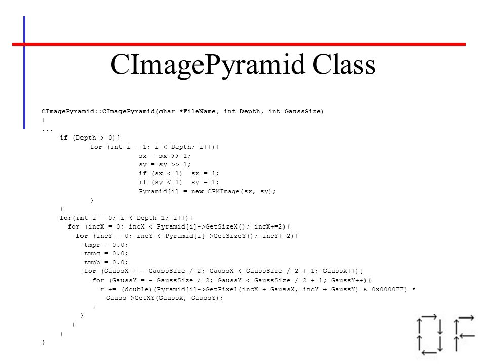 CImagePyramid Class CImagePyramid::CImagePyramid(char *FileName, int Depth, int GaussSize) {... if (Depth > 0){ for (int i = 1; i < Depth; i++){ sx =