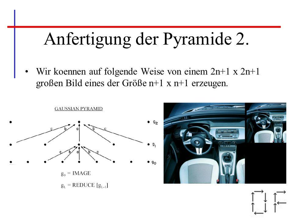 Anfertigung der Pyramide 2. Wir koennen auf folgende Weise von einem 2n+1 x 2n+1 großen Bild eines der Größe n+1 x n+1 erzeugen.