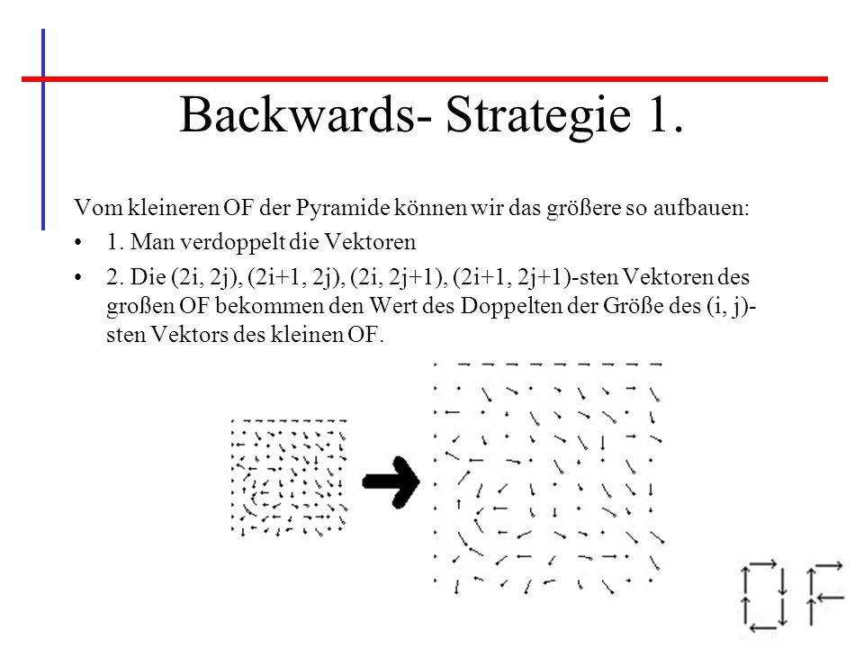Backwards- Strategie 1. Vom kleineren OF der Pyramide können wir das größere so aufbauen: 1. Man verdoppelt die Vektoren 2. Die (2i, 2j), (2i+1, 2j),