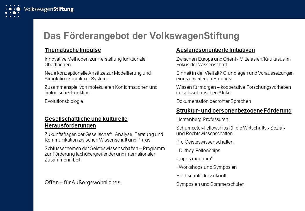Das Förderangebot der VolkswagenStiftung Thematische Impulse Innovative Methoden zur Herstellung funktionaler Oberflächen Neue konzeptionelle Ansätze