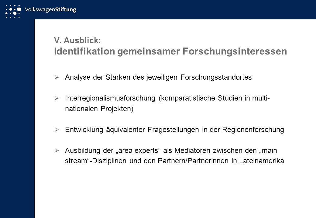 V. Ausblick: Identifikation gemeinsamer Forschungsinteressen Analyse der Stärken des jeweiligen Forschungsstandortes Interregionalismusforschung (komp
