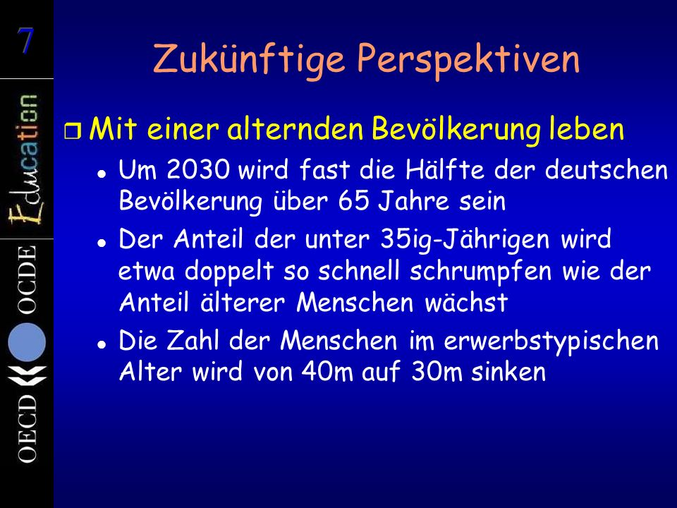 Zukünftige Perspektiven r Mit einer alternden Bevölkerung leben Um 2030 wird fast die Hälfte der deutschen Bevölkerung über 65 Jahre sein Der Anteil der unter 35ig-Jährigen wird etwa doppelt so schnell schrumpfen wie der Anteil älterer Menschen wächst Die Zahl der Menschen im erwerbstypischen Alter wird von 40m auf 30m sinken