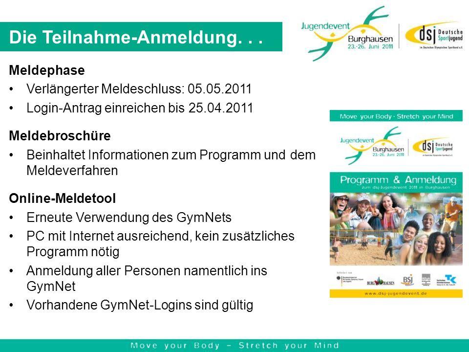 Die Teilnahme-Anmeldung... Meldephase Verlängerter Meldeschluss: 05.05.2011 Login-Antrag einreichen bis 25.04.2011 Meldebroschüre Beinhaltet Informati